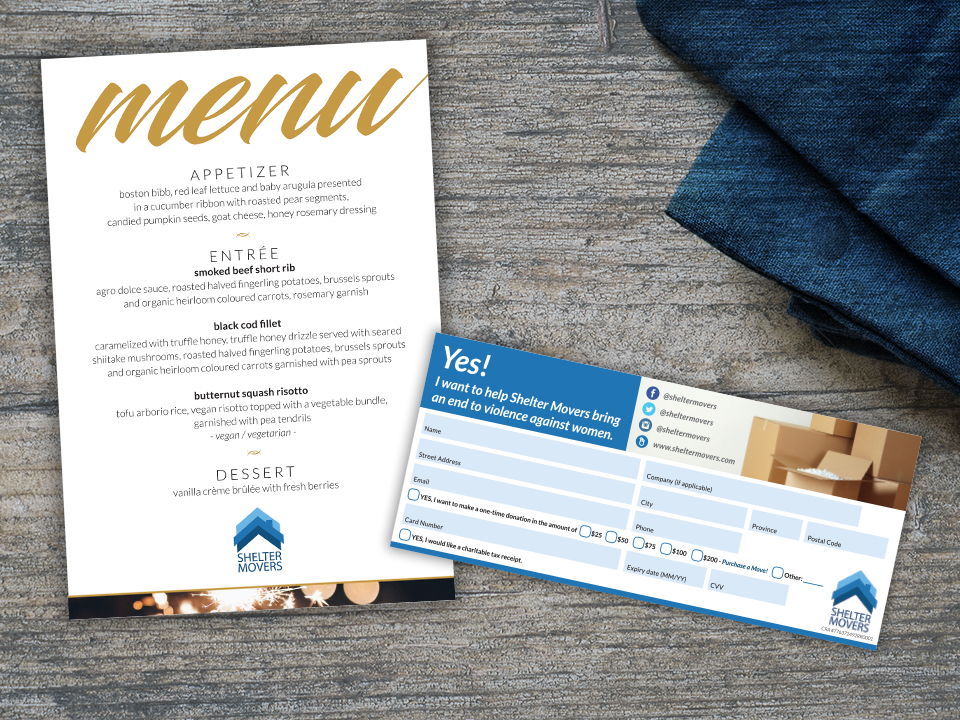 photo: menu and donation card for 2017 Moving Affair Gala